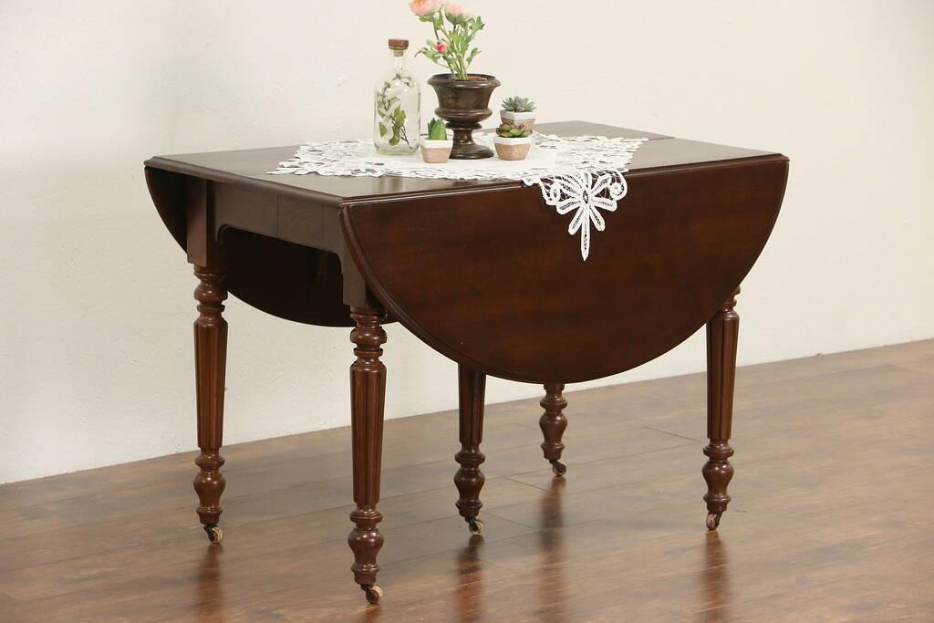 Sold victorian 1880 39 s antique walnut drop leaf dining for Antique drop leaf dining table