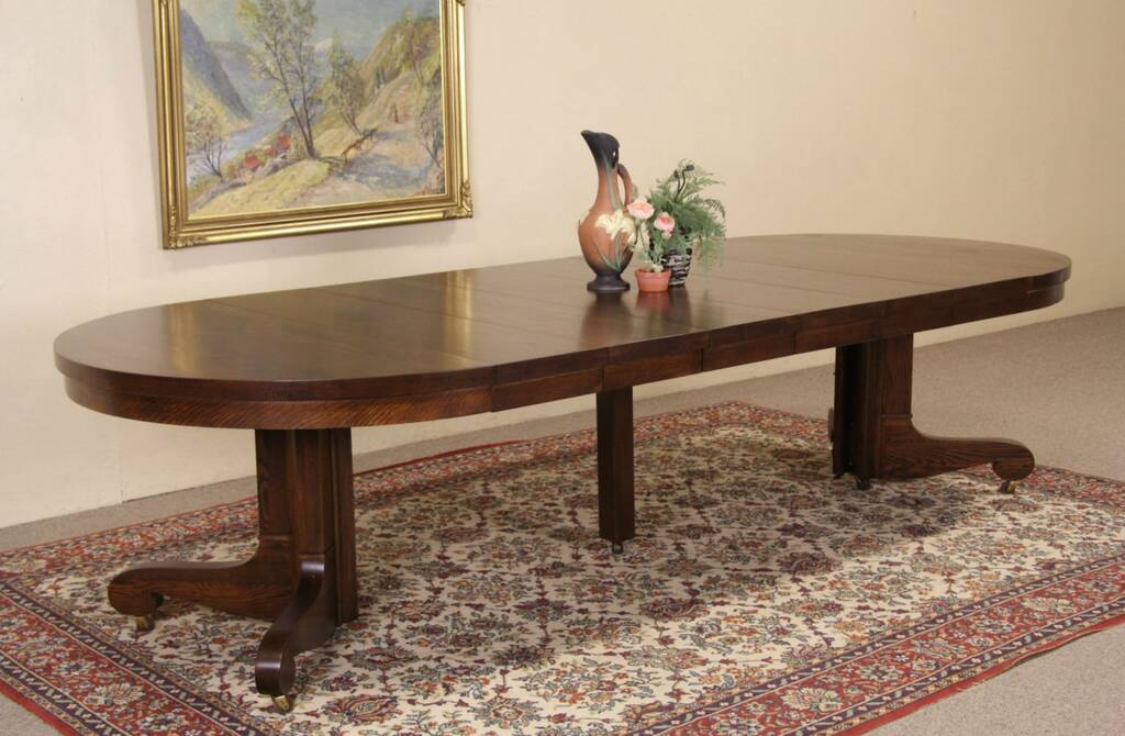 Sold Oak 4 Round 1900 Antique Pedestal Dining Table 6