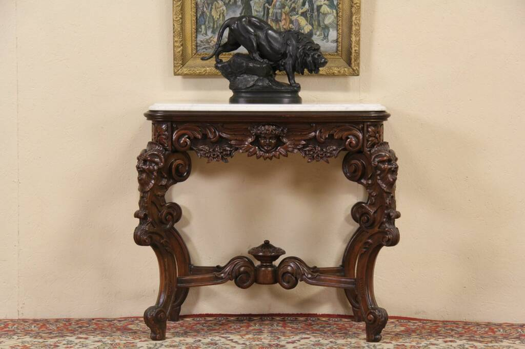 Sold Marble Top Antique 1900 Hall Console Table Carved
