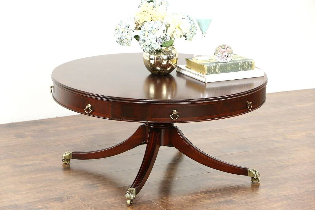 Sold Traditional Drum Style Pedestal Coffee Table 1950