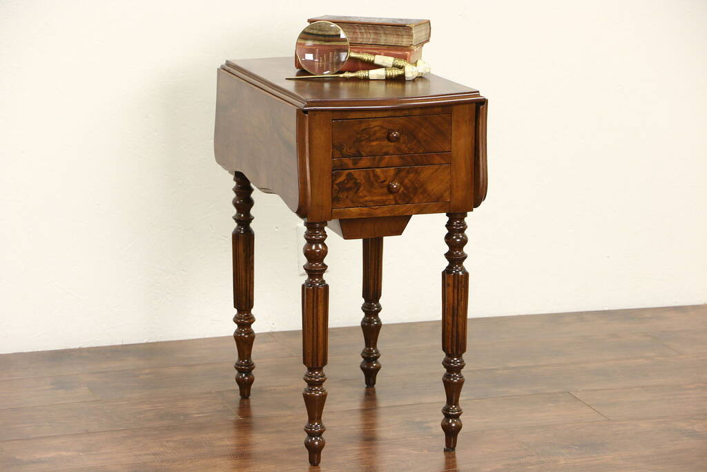 Burl 1890's Antique End Table Or Nightstand, Sewing