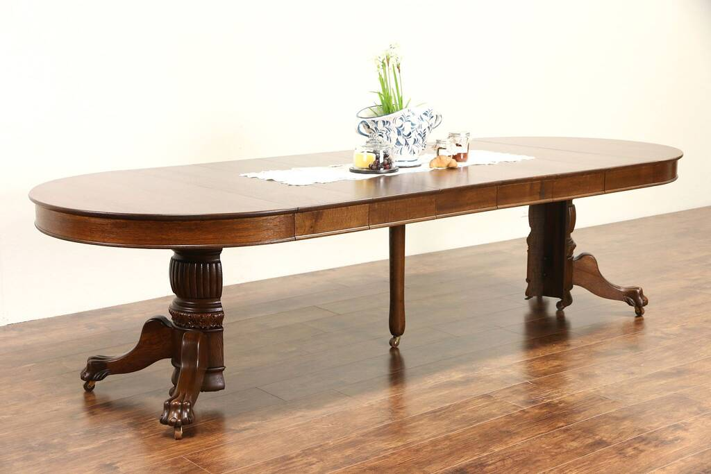 Sold round 1900 antique 45 oak pedestal dining table 6 for 6 foot round dining table