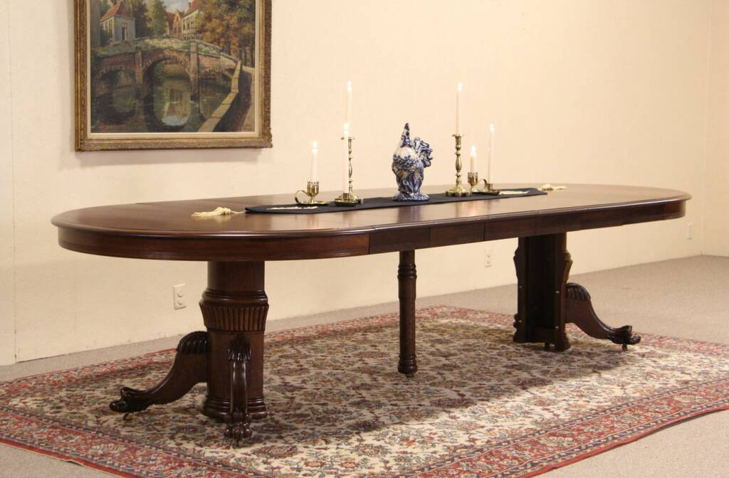 Sold Round Oak Antique 1900 Dining Table Lion Paw