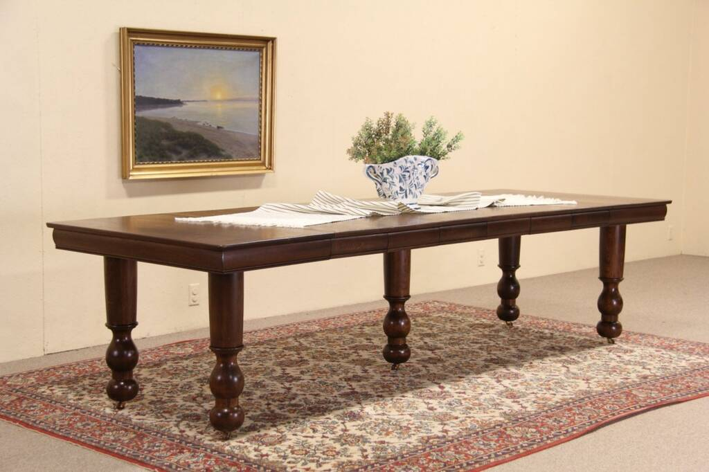 Square Oak 1900 Antique Dining Table 6 Leaves Extends 9  : 10241024sztab5 9 14oak from harpgallery.com size 1024 x 682 jpeg 76kB