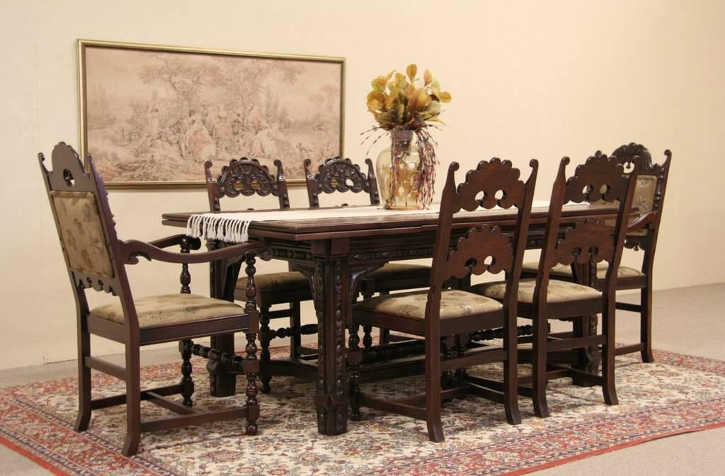 SOLD English Tudor 1925 Carved Oak Dining Set Table amp 6  : 10241024sztab6 14set from www.harpgallery.com size 1024 x 672 jpeg 88kB