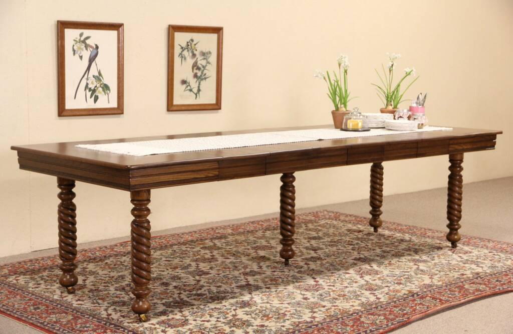 SOLD Square 1900 Antique Oak Dining Table Spiral Legs  : 10241024sztab6 6 15sq from www.harpgallery.com size 1024 x 666 jpeg 82kB