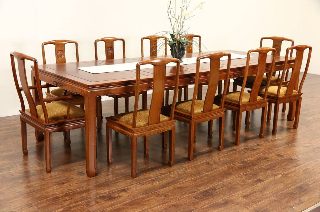 Sold asian vintage carved rosewood dining set table