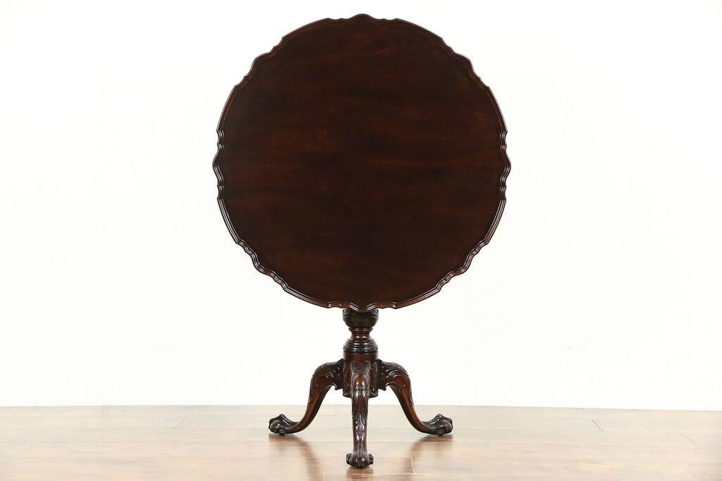 Sold Georgian 1920 S Mahogany Piecrust Tea Table Tilt Top Claw Amp Ball Feet Harp Gallery
