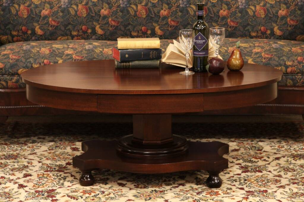 Sold Oval Empire Mahogany Coffee Table Harp Gallery Antique Furniture