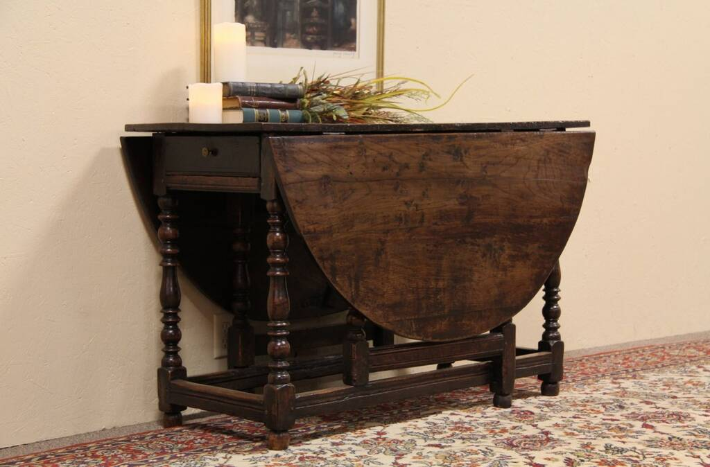 Sold Oval 1700 S Antique Oak Dining Or Sofa Table Harp