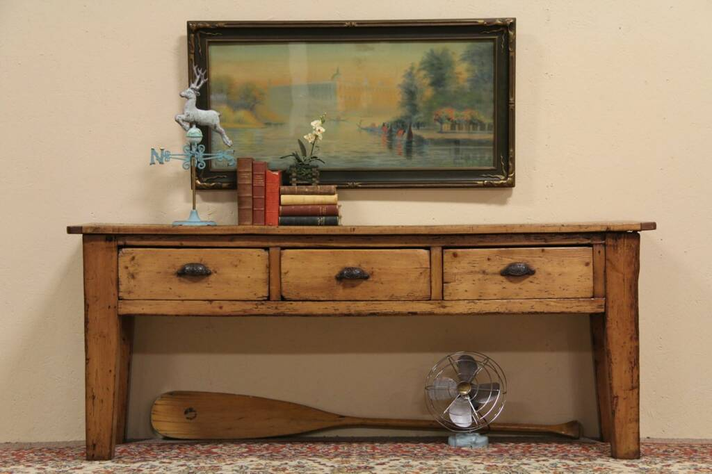 Sold Country Pine Antique Sofa Table Console Or Island