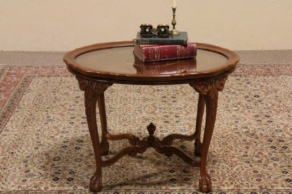 SOLD - Carved Ball u0026 Claw Oval Coffee Table, Glass Tray ...