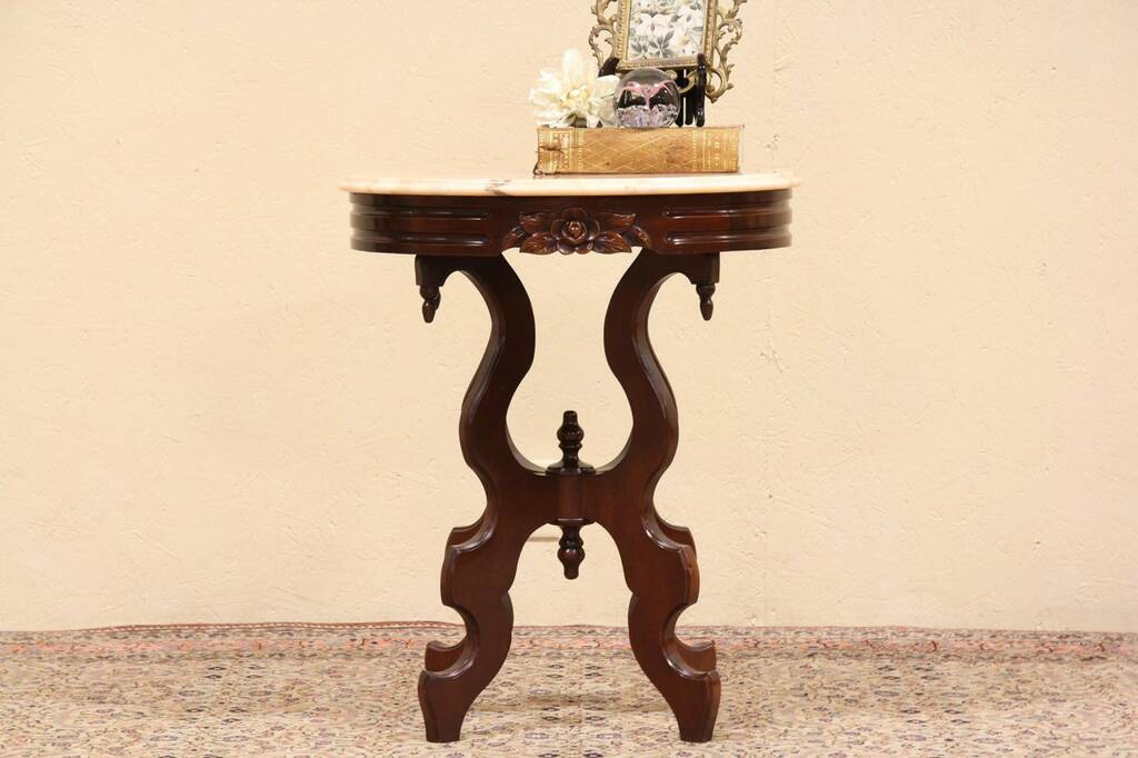 Sold Victorian Style Oval Marble Top Table Harp