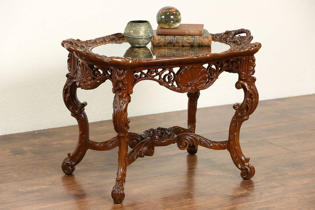 Sold Renaissance Carved 1925 Coffee Table Inlaid