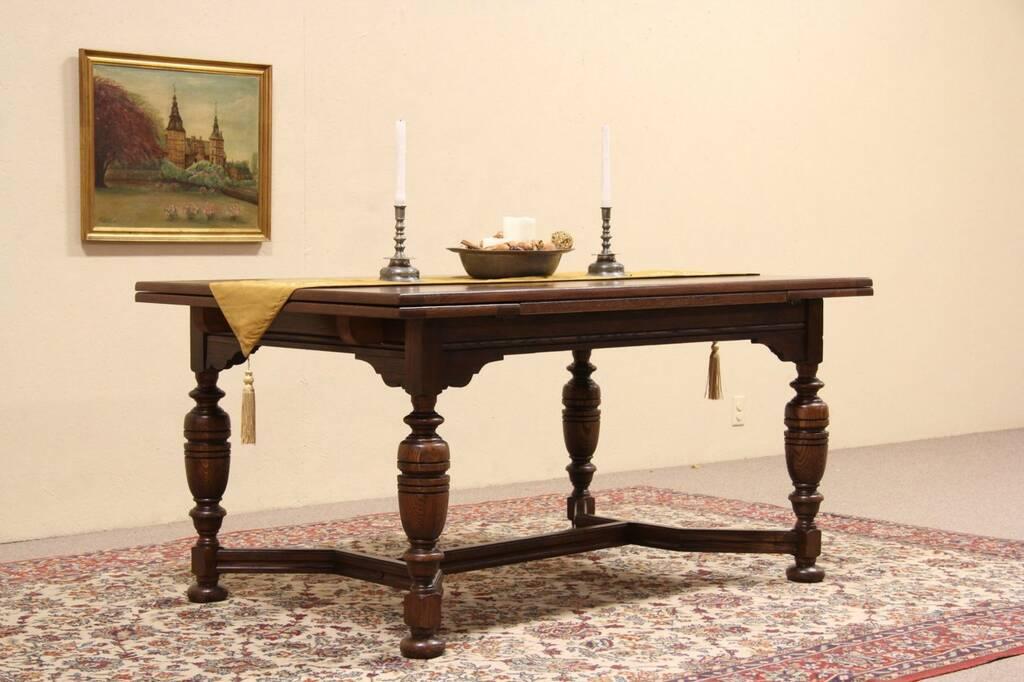 Sold Tudor Design Antique 1925 Oak Dining Or Library