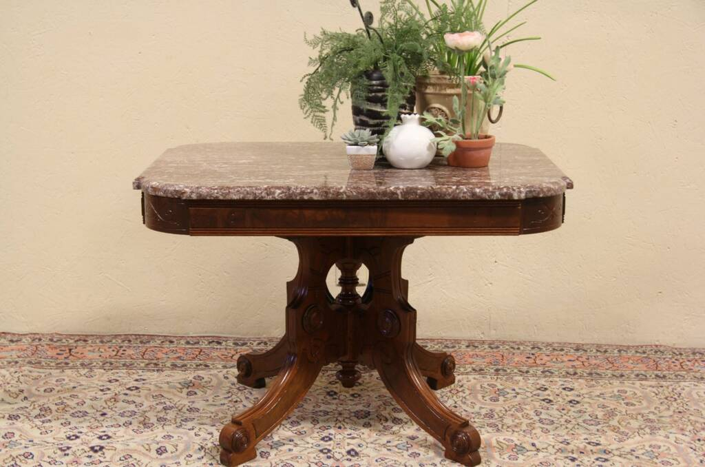 Sold Eastlake Antique 1880 Marble Top Coffee Table