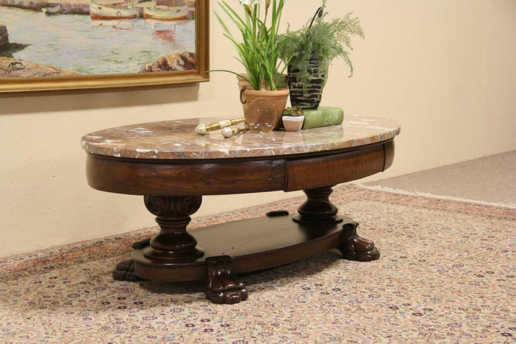SOLD - Oval Marble Top Coffee Table from 1900 Antique ...