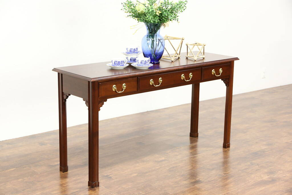 Sold Cherry Vintage Sofa Or Hall Console Table Signed