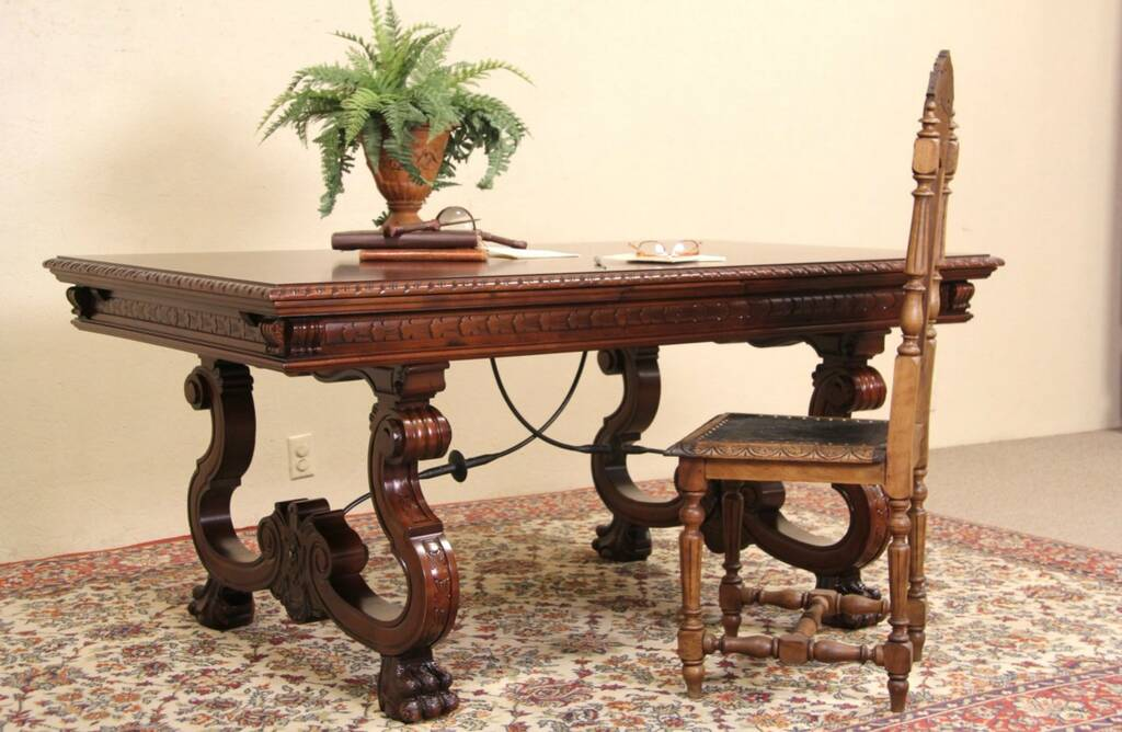 Sold Spanish Colonial Carved Vintage Library Or Dining