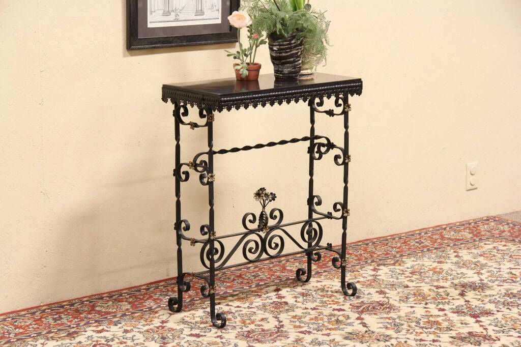 Wrought Iron Amp Slate Hall Or Console Table