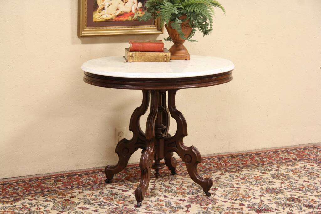 Sold Victorian Oval Marble Top 1880 Antique Lamp Table