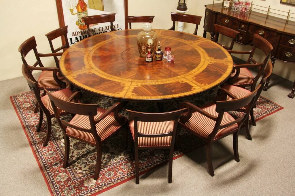 Maitland Smith Unsigned Round Mahogany Dining Table Leaves EBay