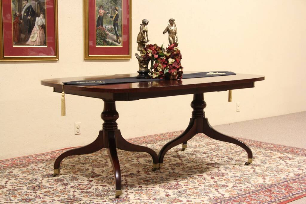 SOLD Drexel Signed Vintage Mahogany Dining Table Banded
