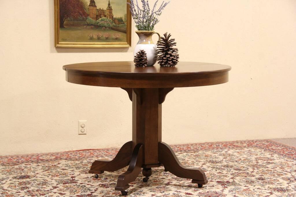 round oak 1900 antique pedestal table 3 leaves ebay. Black Bedroom Furniture Sets. Home Design Ideas