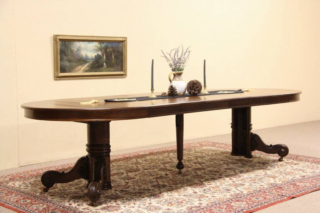 Details About Oak Round 48 Antique 1900 Dining Table Six Leaves