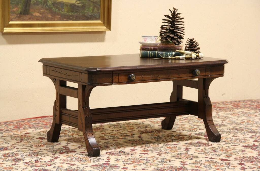 Sold Victorian Eastlake Coffee Table From 1880 Library