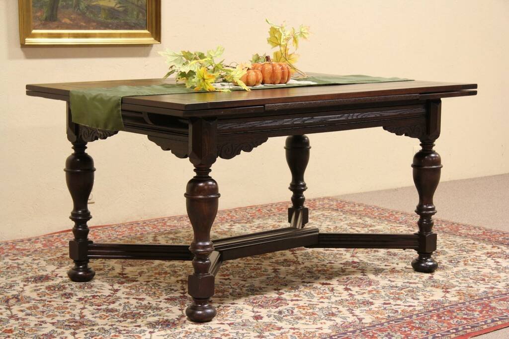 Sold Tudor 1920 Oak Library Or Dining Table Draw Leaves