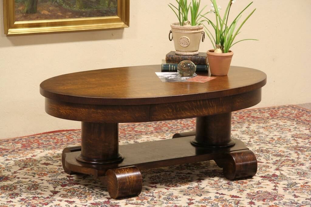 Sold Oval Oak Coffee Table Made From 1900 Library Table