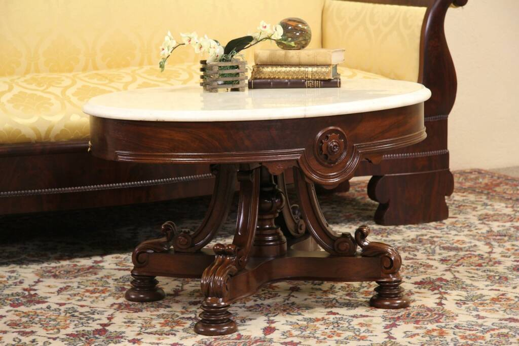Sold oval marble top coffee table from 1860 victorian for Antique victorian marble top coffee table