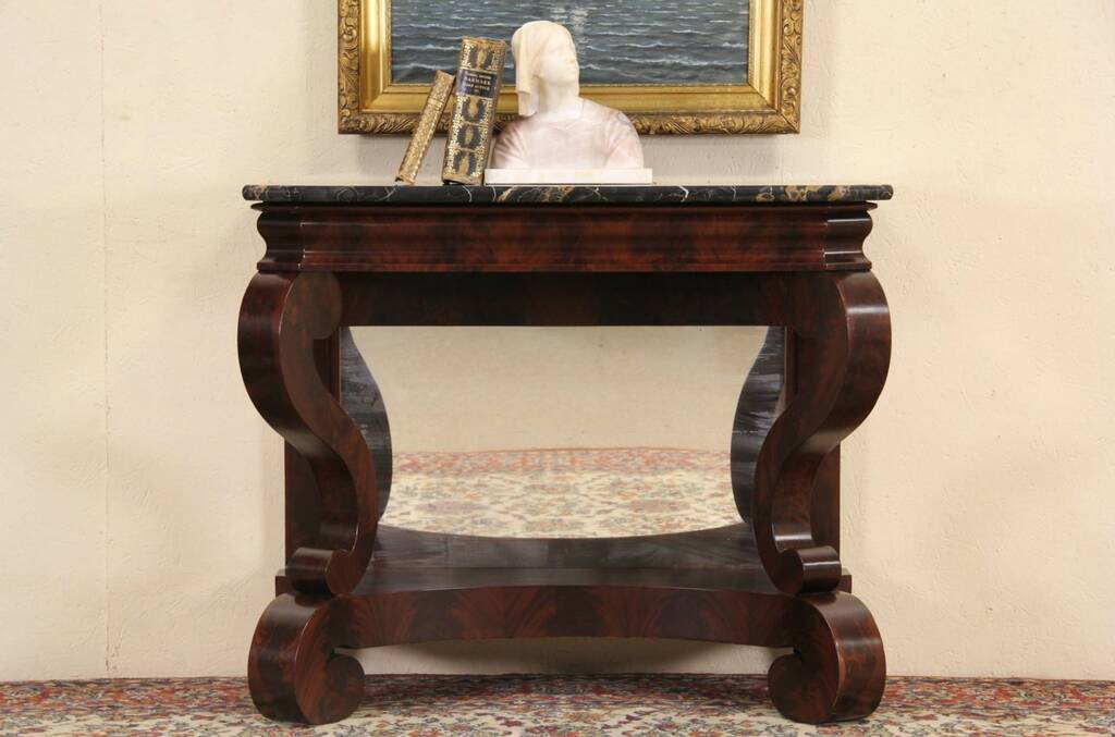 Sold Empire 1840 Antique Marble Top Petticoat Table