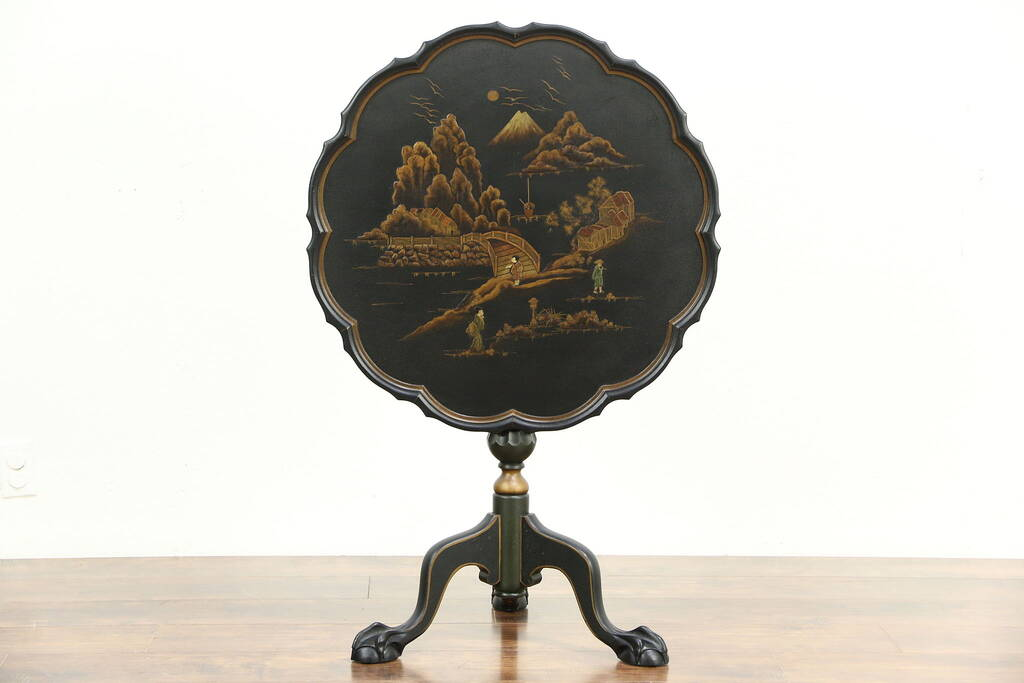 Sold Tea Table Antique Chinese Lacquer 1920 Antique Pie