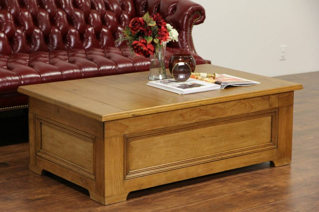 Sold Country Pine Coffee Table With Storage Made From