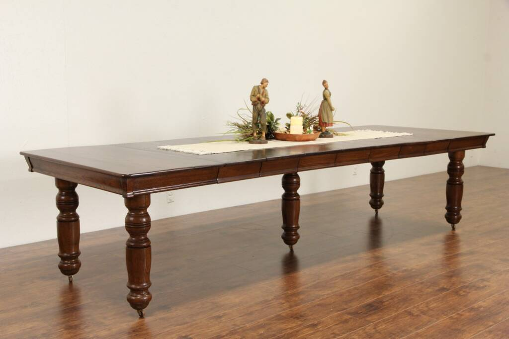 Sold Square Oak 1900 Antique Dining Table 7 Leaves