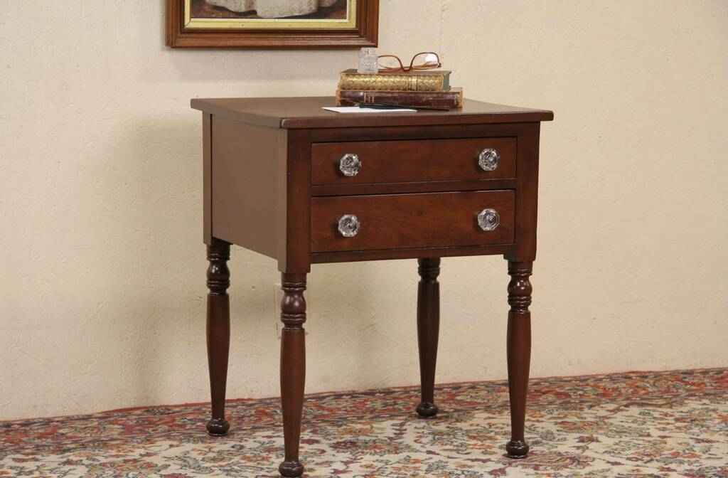 Sold Victorian 1860 S Antique Cherry 2 Drawer Lamp Table