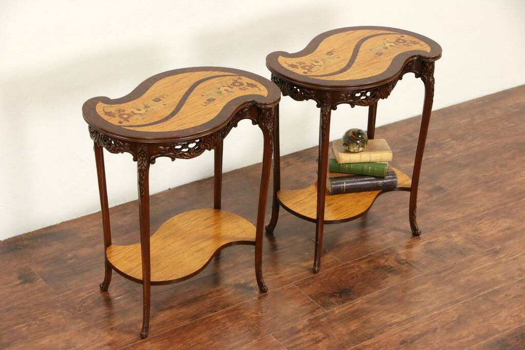 Sold pair of 192039s scroll shaped inlaid marquetry for Antique scroll coffee table