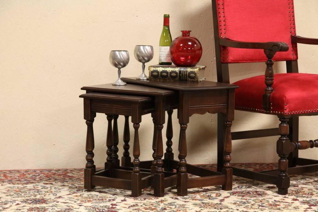 Nesting Snack Tables ~ Sold set of tudor oak nesting snack tables harp