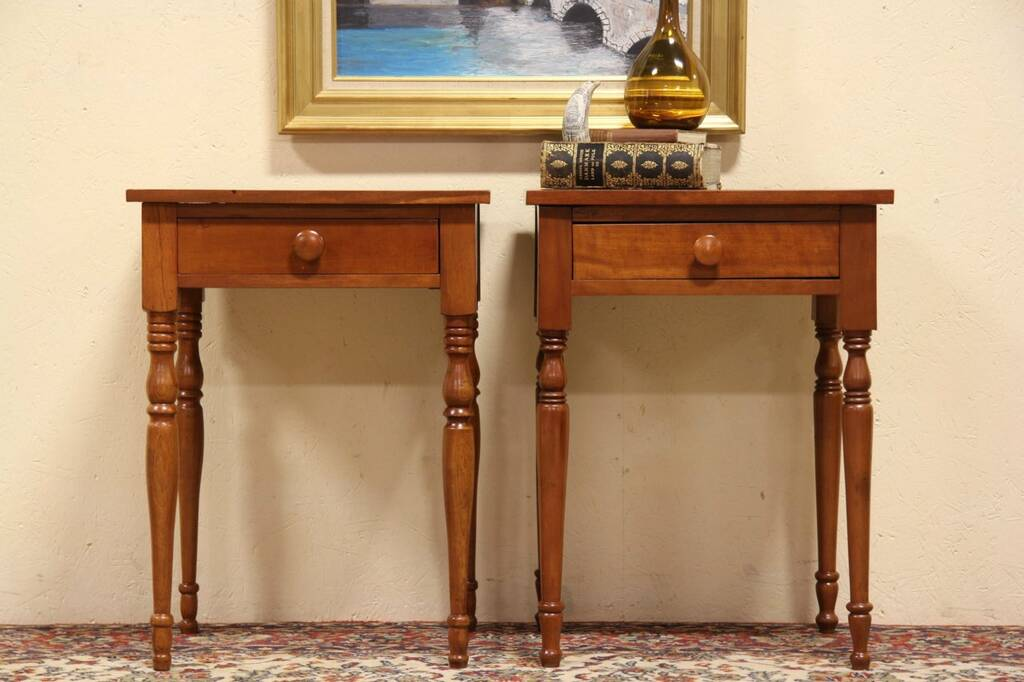 Sold Pair 1830 Antique Cherry Bedside Or End Tables