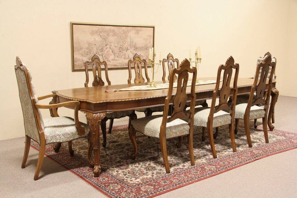 SOLD Romweber Carved Vintage Dining Set Table 8 Chairs  : 10241024sztabset6897rw from harpgallery.com size 1024 x 682 jpeg 93kB