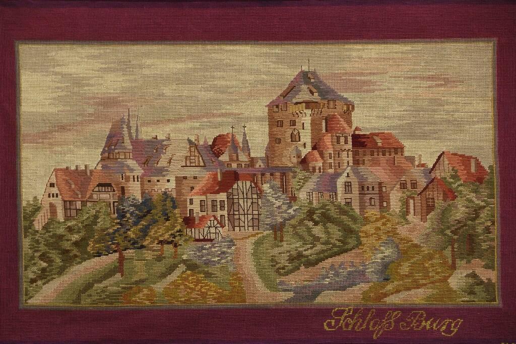 Sold Framed Needlepoint Amp Petite Point Solingen Castle