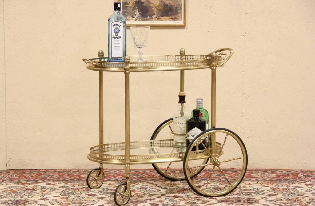 Sold Brass Vintage Oval Tea Cart Beverage Or Dessert