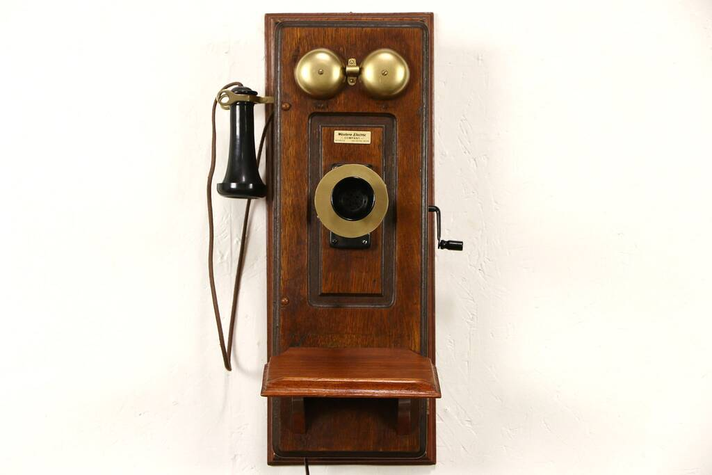 Sold Oak Western Electric Signed Antique Wall Phone Amp Dial Crank Generator Pat 1910 Harp