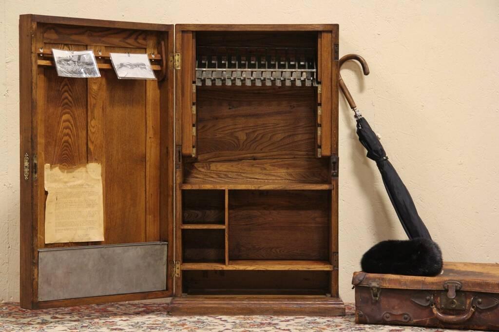 Sold Railroad Depot Oak 1890 Train Ticket Cabinet Harp