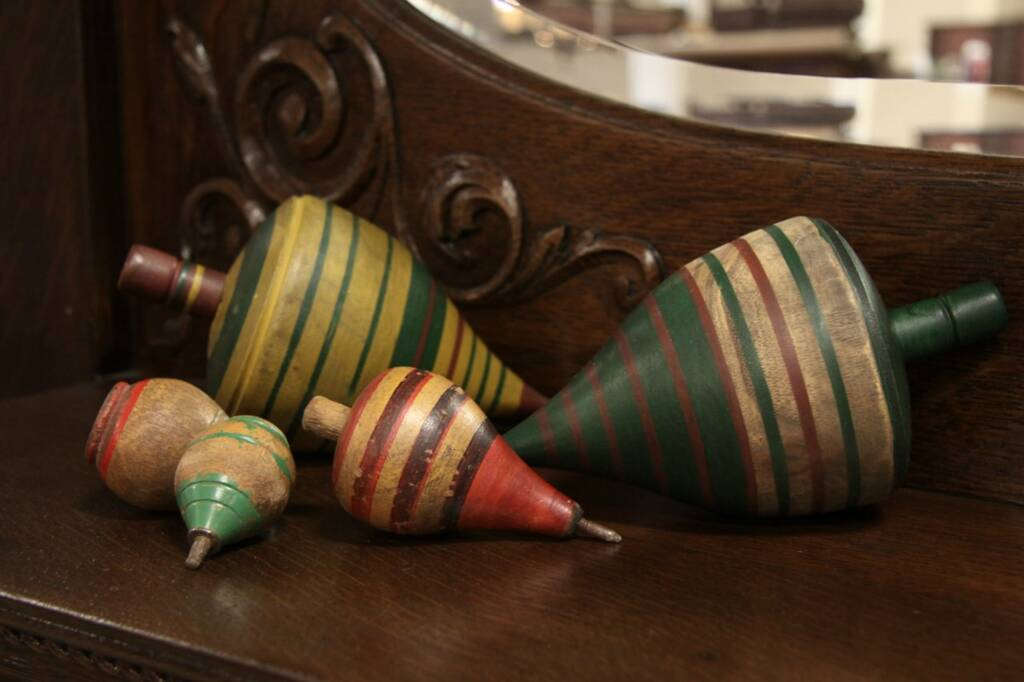 sold - set of 5 painted wooden toy spinning tops