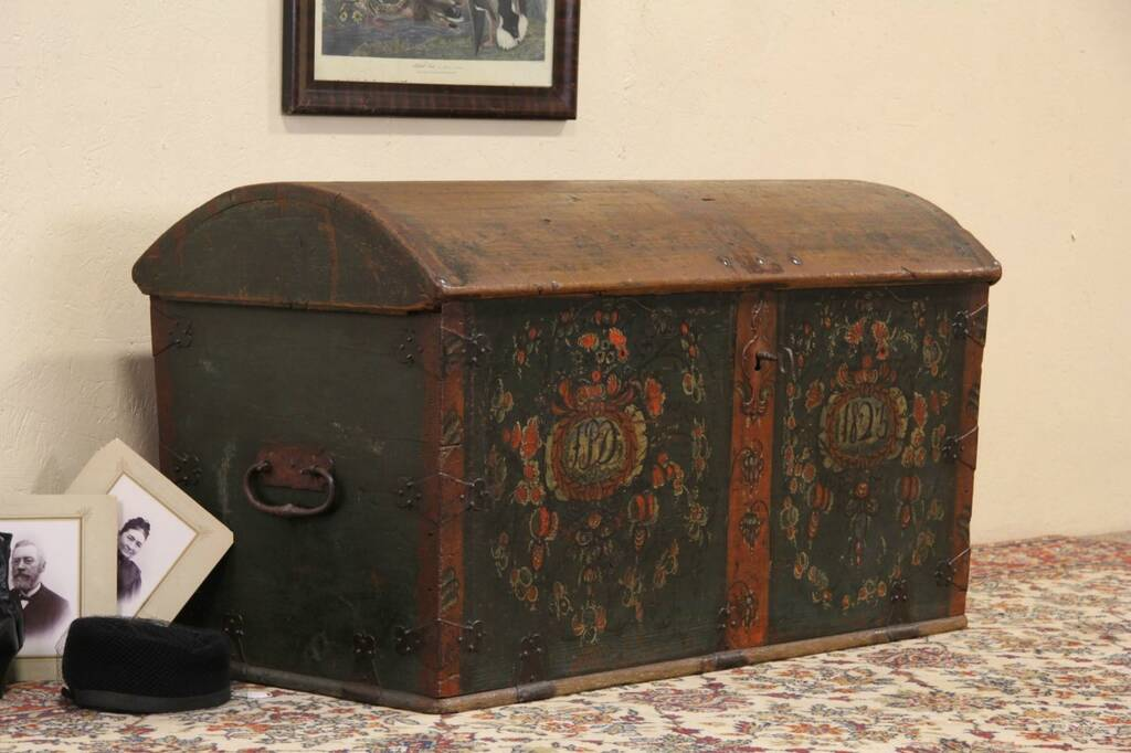 Sold Scandinavian 1823 Painted Immigrant Dowry Trunk