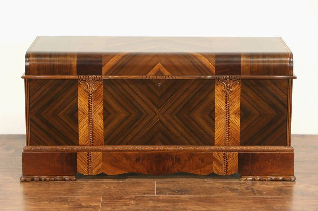 Sold art deco 1930 39 s vintage waterfall cedar blanket for Art deco furniture chicago