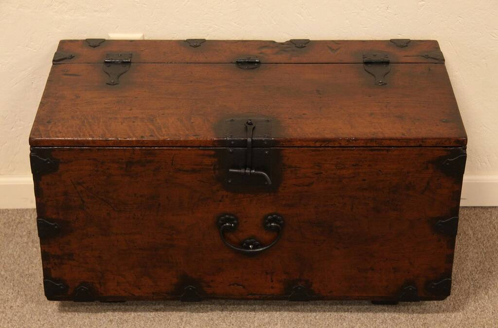 Sold asian trunk or dowry chest coffee table harp for Asian trunk coffee table